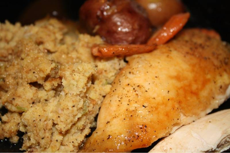 Ina Gartens Perfect Roast Chicken with Cornbread Dressing
