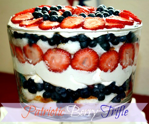 Patriotic Berry Trifle (recipe adapted from Sunny Anderson )