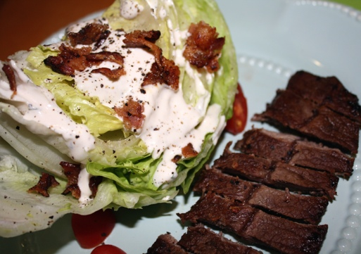 Steak and Wedge Salad with Lowfat Homemake Buttermilk Ranch Dressing