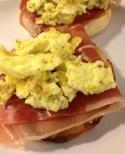 Eggs and Prosciutto on English Muffin