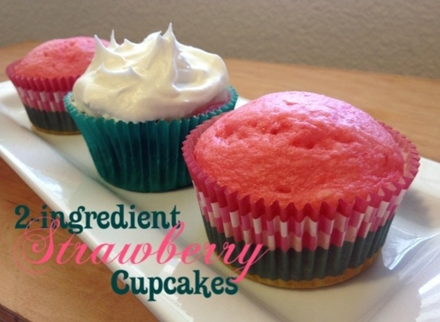 2-Ingredient Strawberry Cupcakes