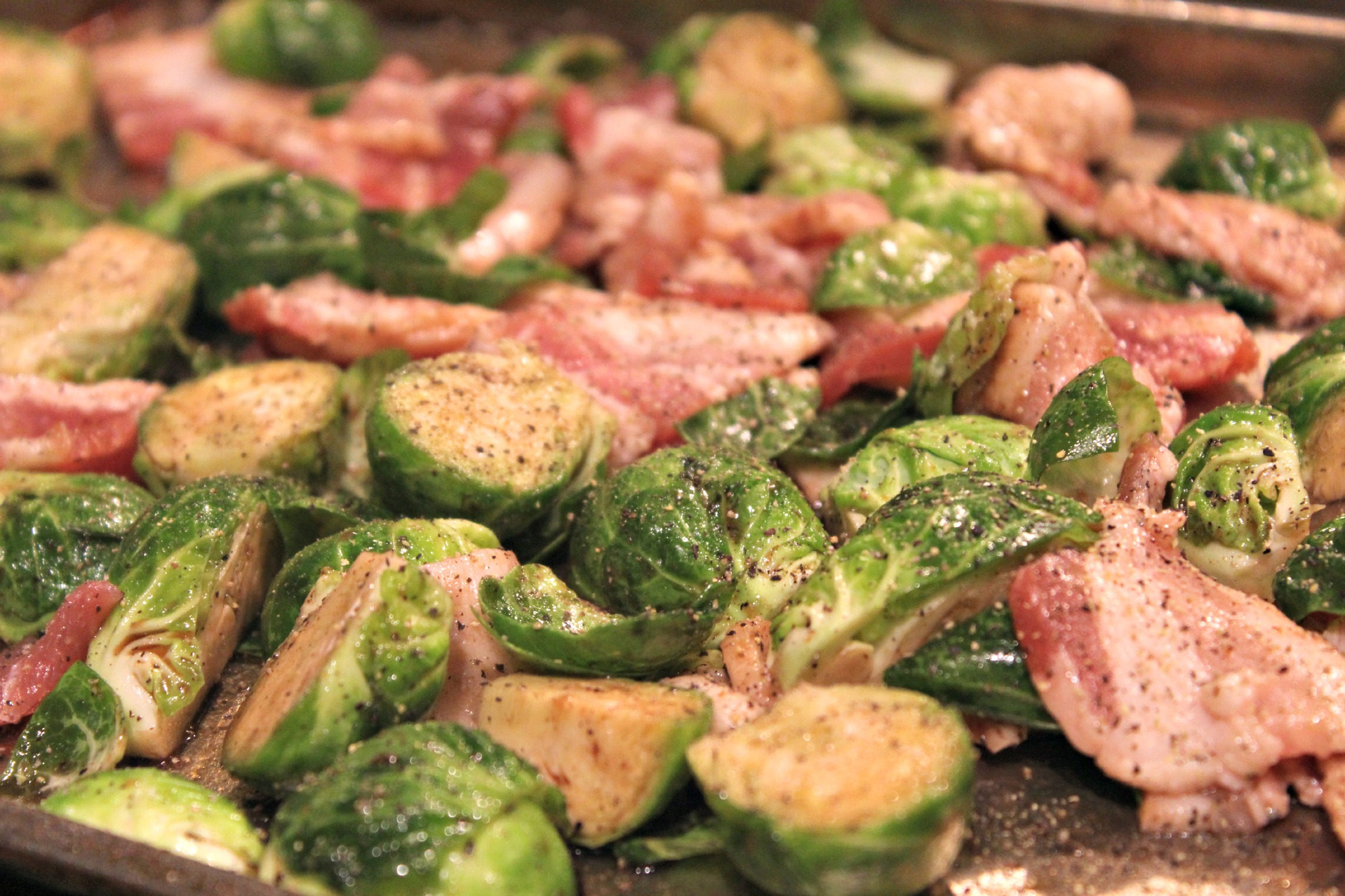 Roasted Brussel Sprouts with Bacon pre roasting