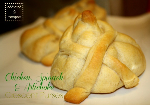 Chicken, Spinach and Artichoke Crescent Purses