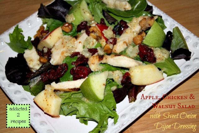 Apple Chicken & Walnut Salad with Sweet Onion Dijon Dressing