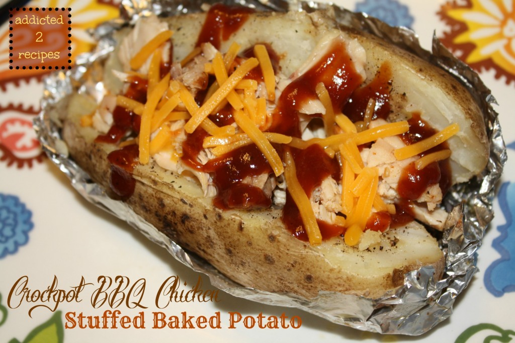 Crockpot BBQ Chicken Stuffed Baked Potato