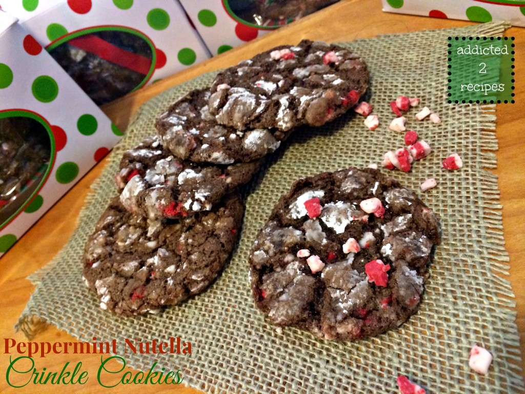 Peppermint Nutella Crinkle  Cookies
