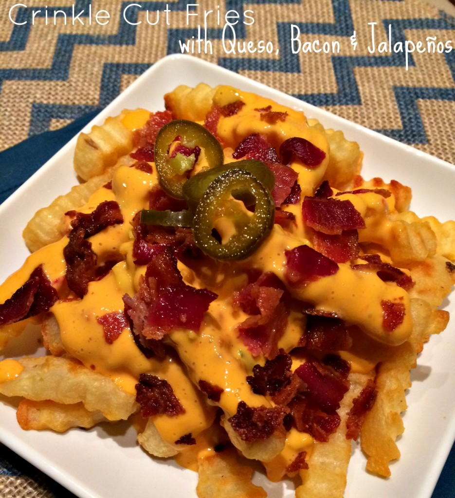 Crinkle Cut Fries with Queso Bacon and Jalapenos
