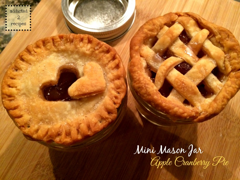 Mini Mason Jar Apple Cranberry Pies