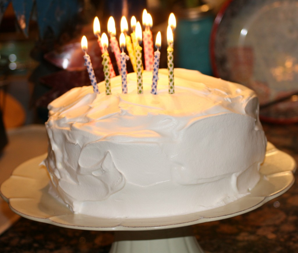 Vanilla and Strawberry Birthday cake with candle