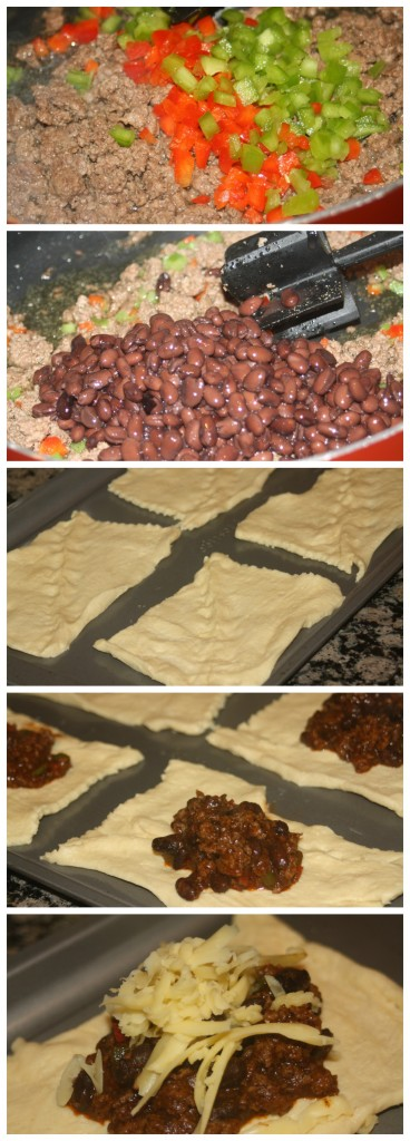 Beef and Bean Enchilada Pillows Setup Collage