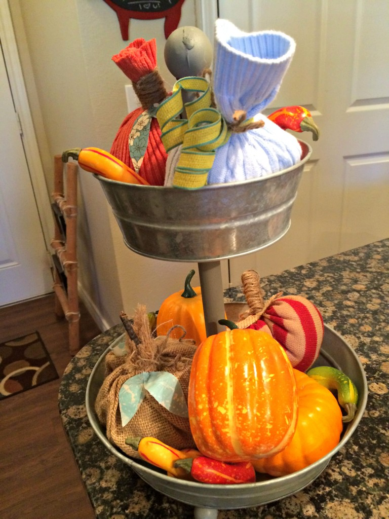Fall Decor 2 Tier Pumpkins