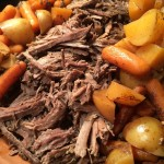 Slow Cooker Shredded Balsamic Beef with Potatoes and Carrots