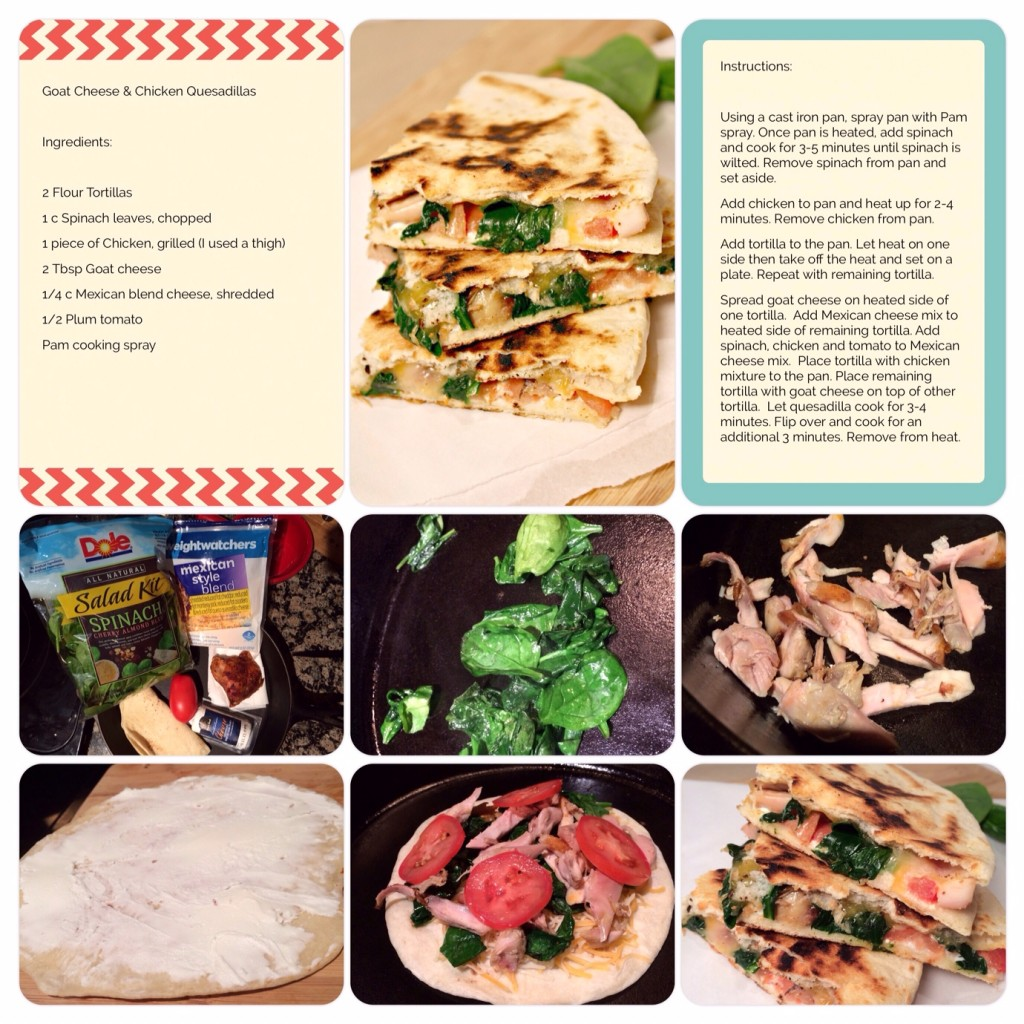 Goat Cheese and Chicken Quesadilla Scrapbook ProjectLifeApp