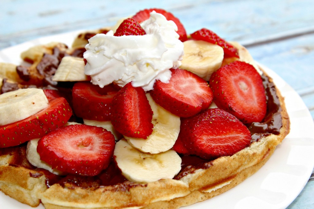 Nutella, Strawberry and Banana Waffles