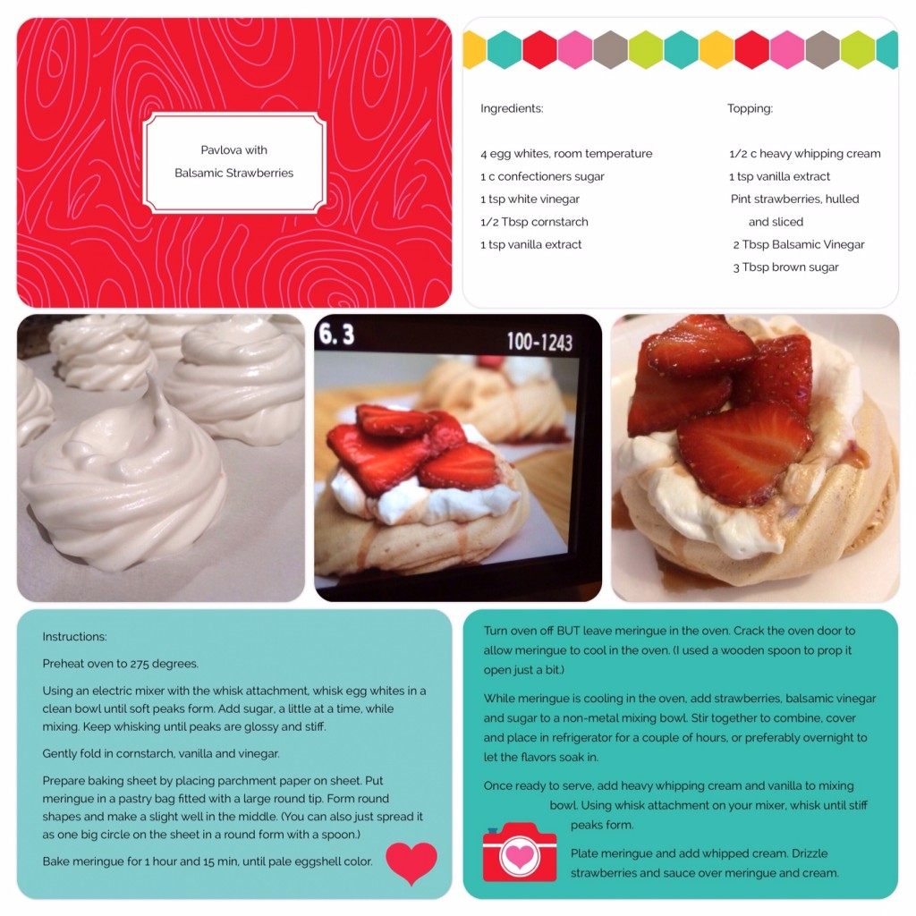Pavlova and Balsamic Strawberries and Cream Dessert Scrapbook page