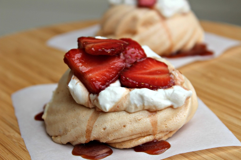 Pavlova and Balsamic Strawberries with Cream