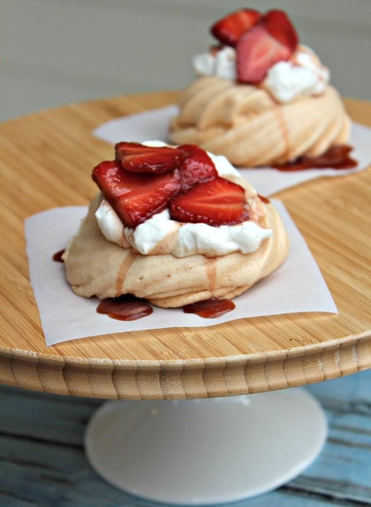 Pavlova with Balsamic Strawberries and Cream
