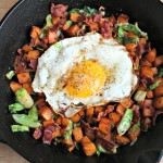 Sweet Potato, Brussels Sprouts and Egg Hash