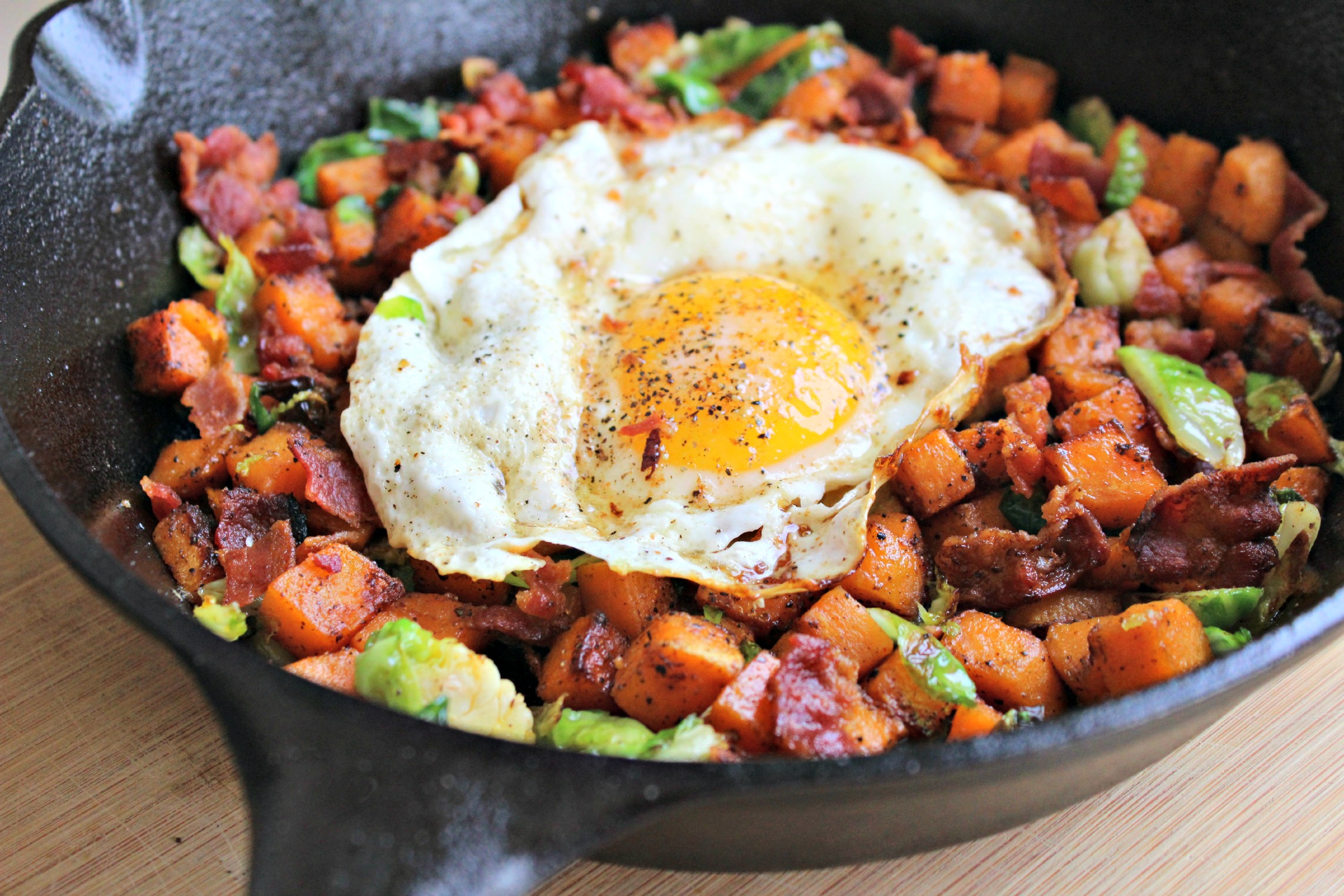 Sweet Potato, Brussels Sprouts and Egg Hash - addicted to recipes