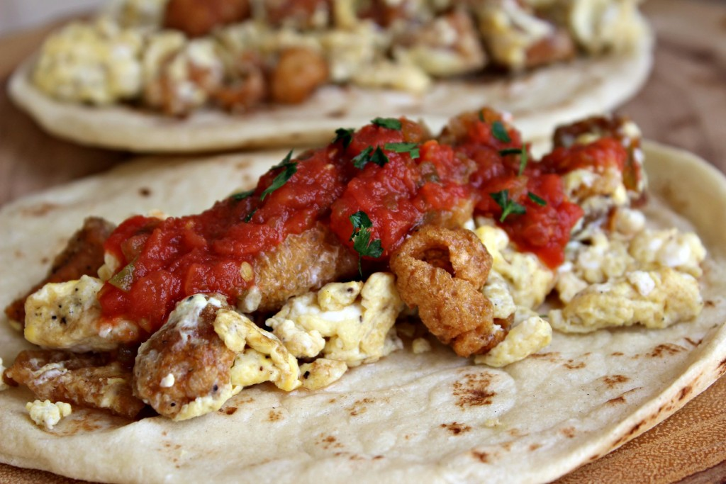 Chicharrones and Egg Breakfast Tacos