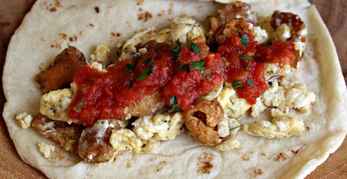 Chicharrones and Egg Breakfast Tacos