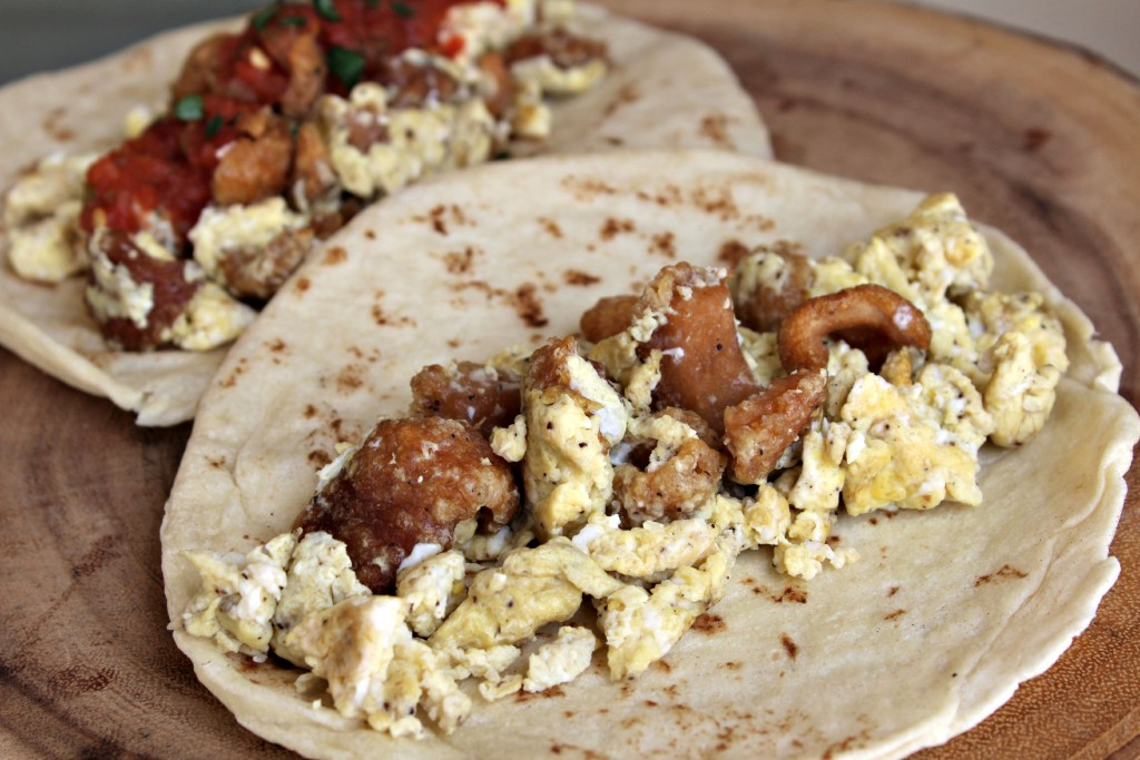 Chicharrones and Eggs Tacos