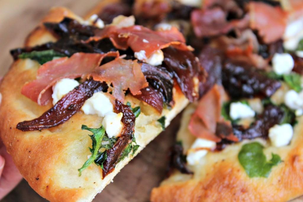 Prosciutto, Goat Cheese and Onion Marmalade Pizza