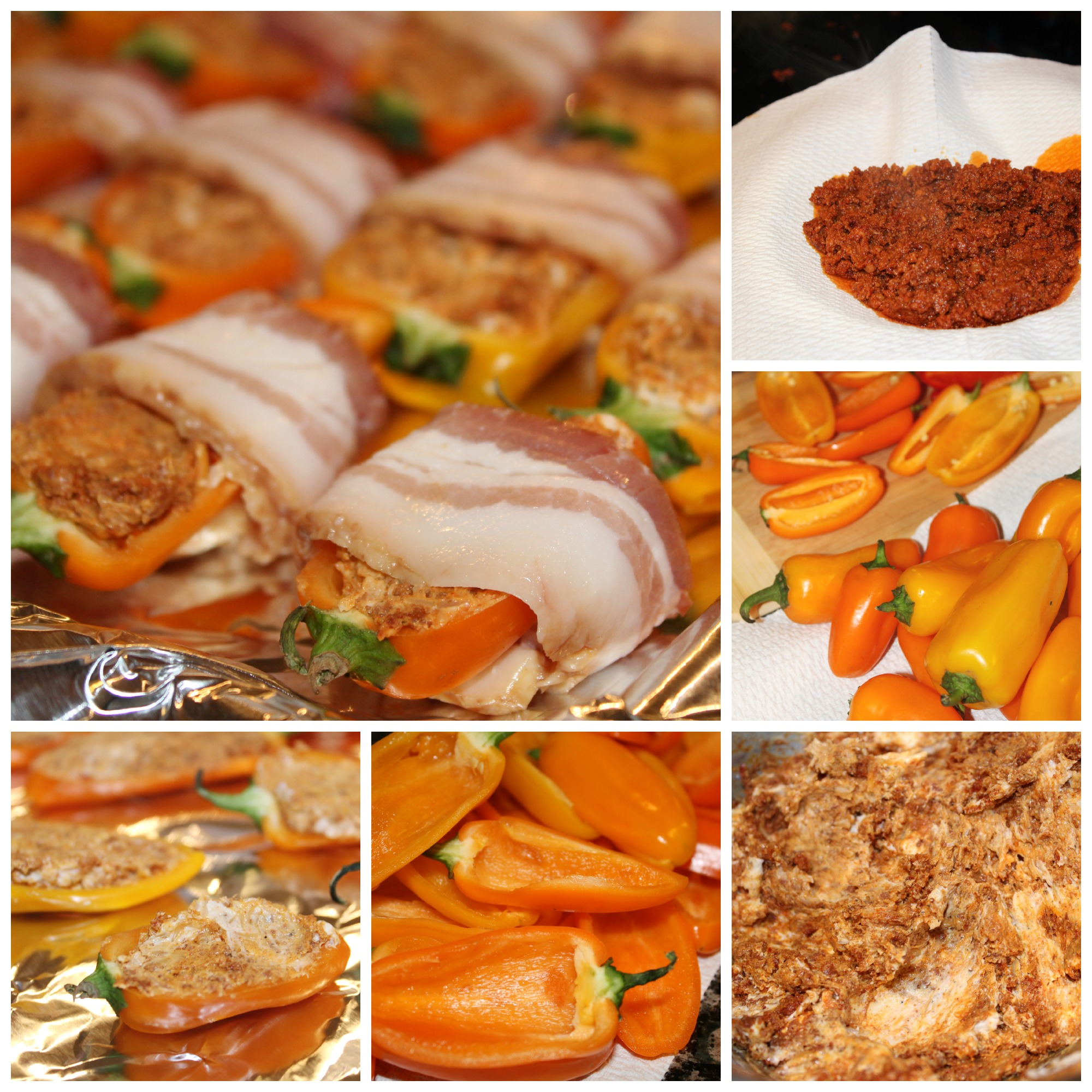 Chorizo Stuffed Bacon Wrapped Peppers Collage