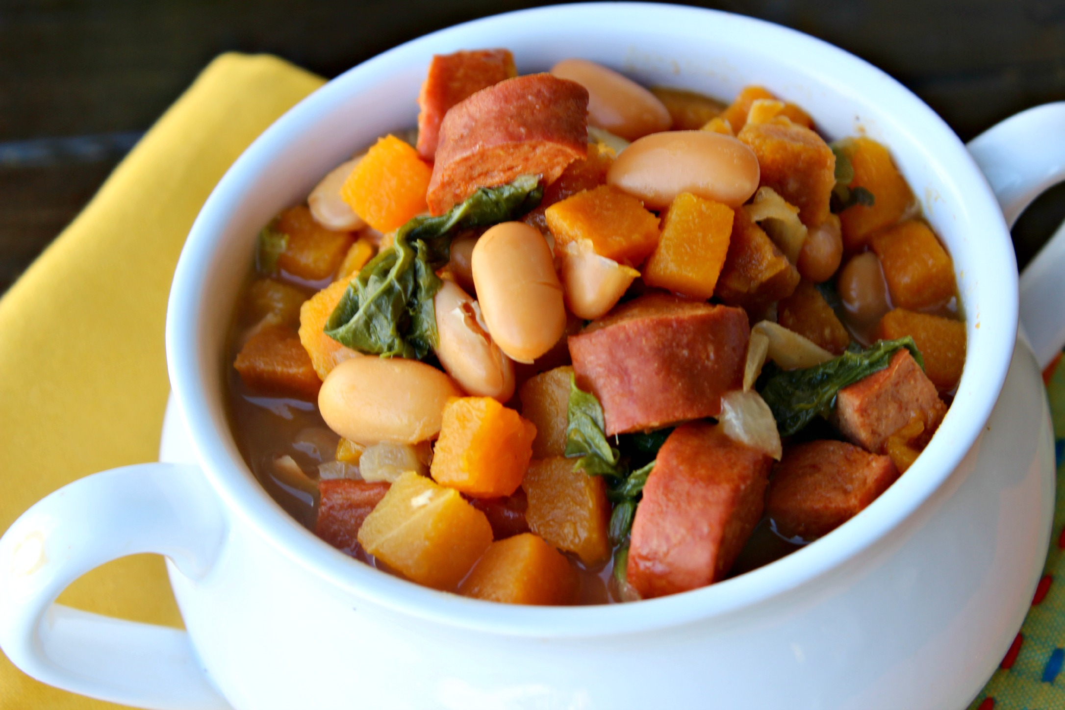 Turkey Sausage, Butternut Squash & White Bean Soup