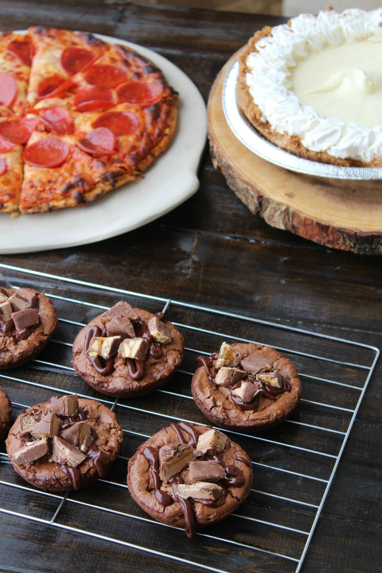 Brownie Bites Pizza and Key lime Pie