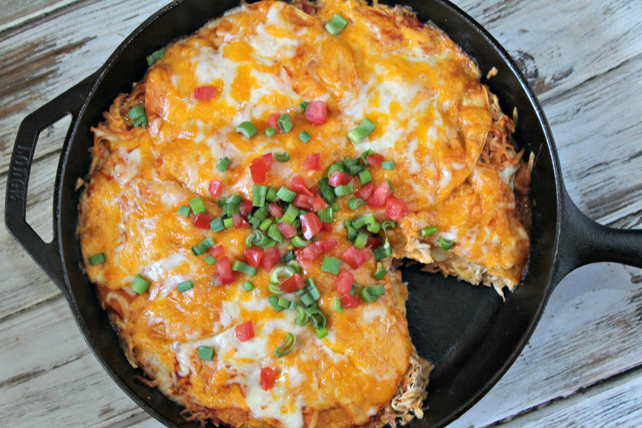 Creamy Chicken Enchilada Stack