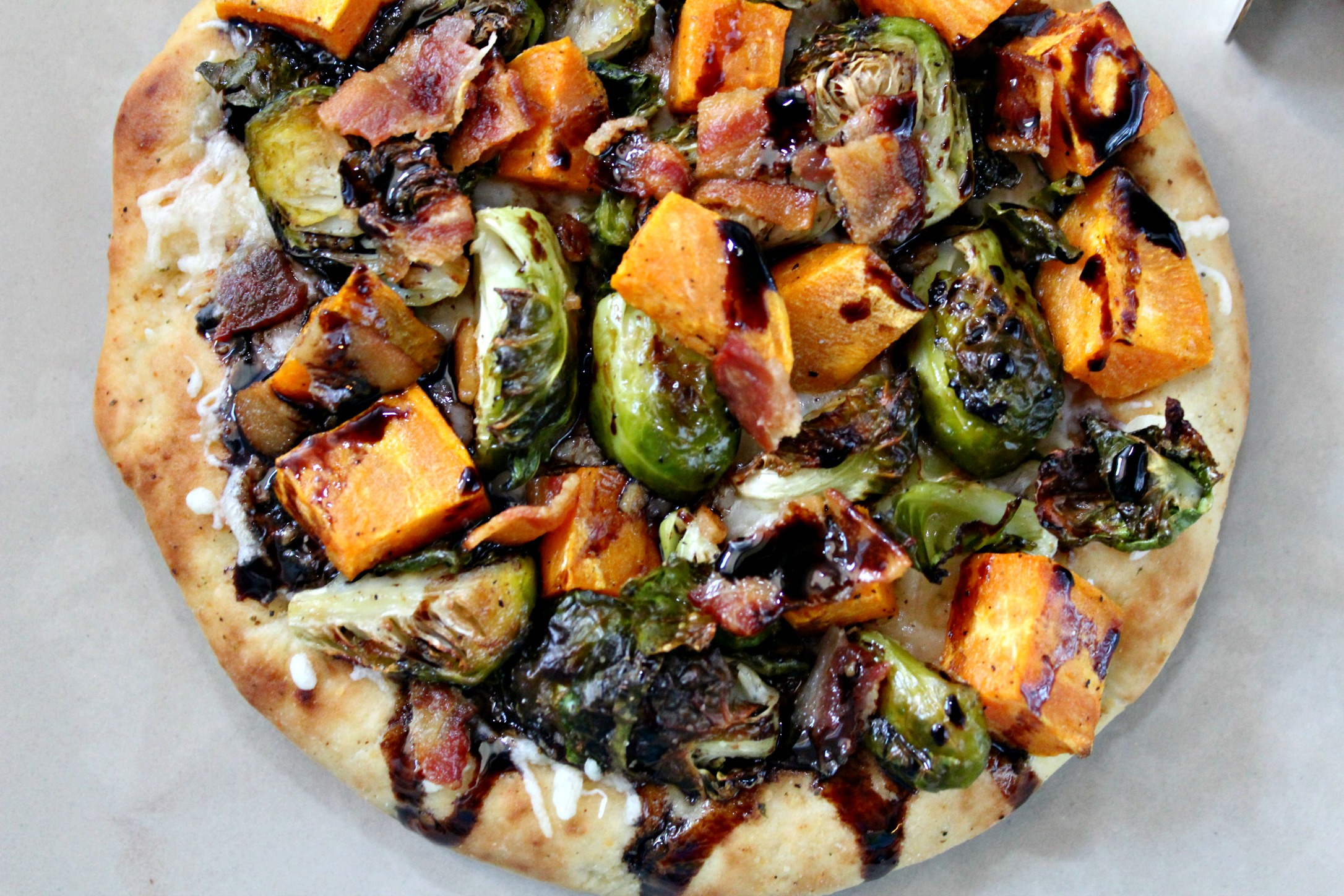 Sweet Potato Brussel Sprouts Bacon Pizza 2