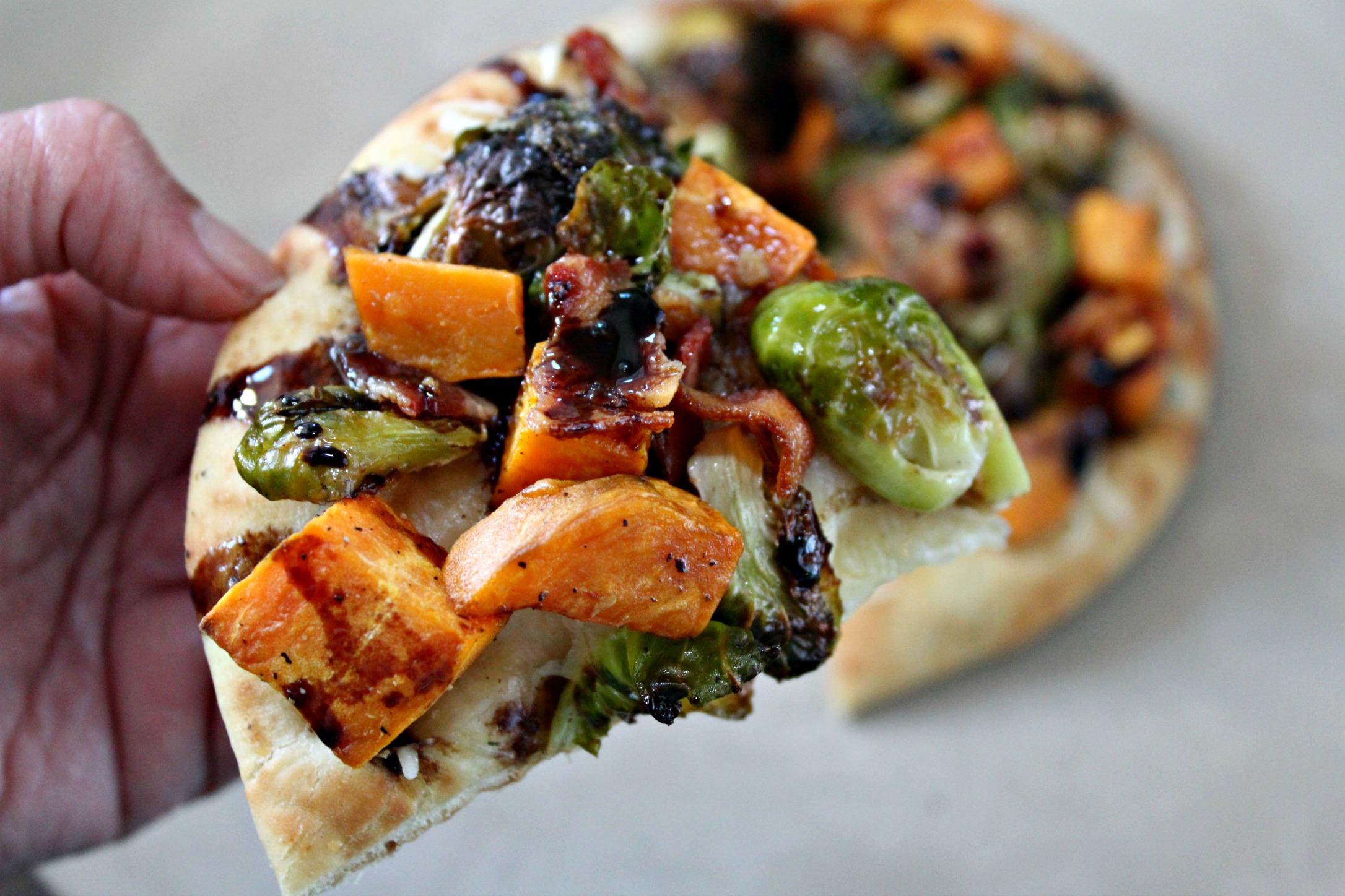 Sweet Potato Brussel Sprouts Bacon Pizza 3