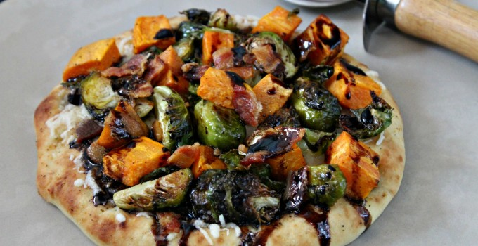 Sweet Potato, Brussels Sprouts and Bacon Pizza