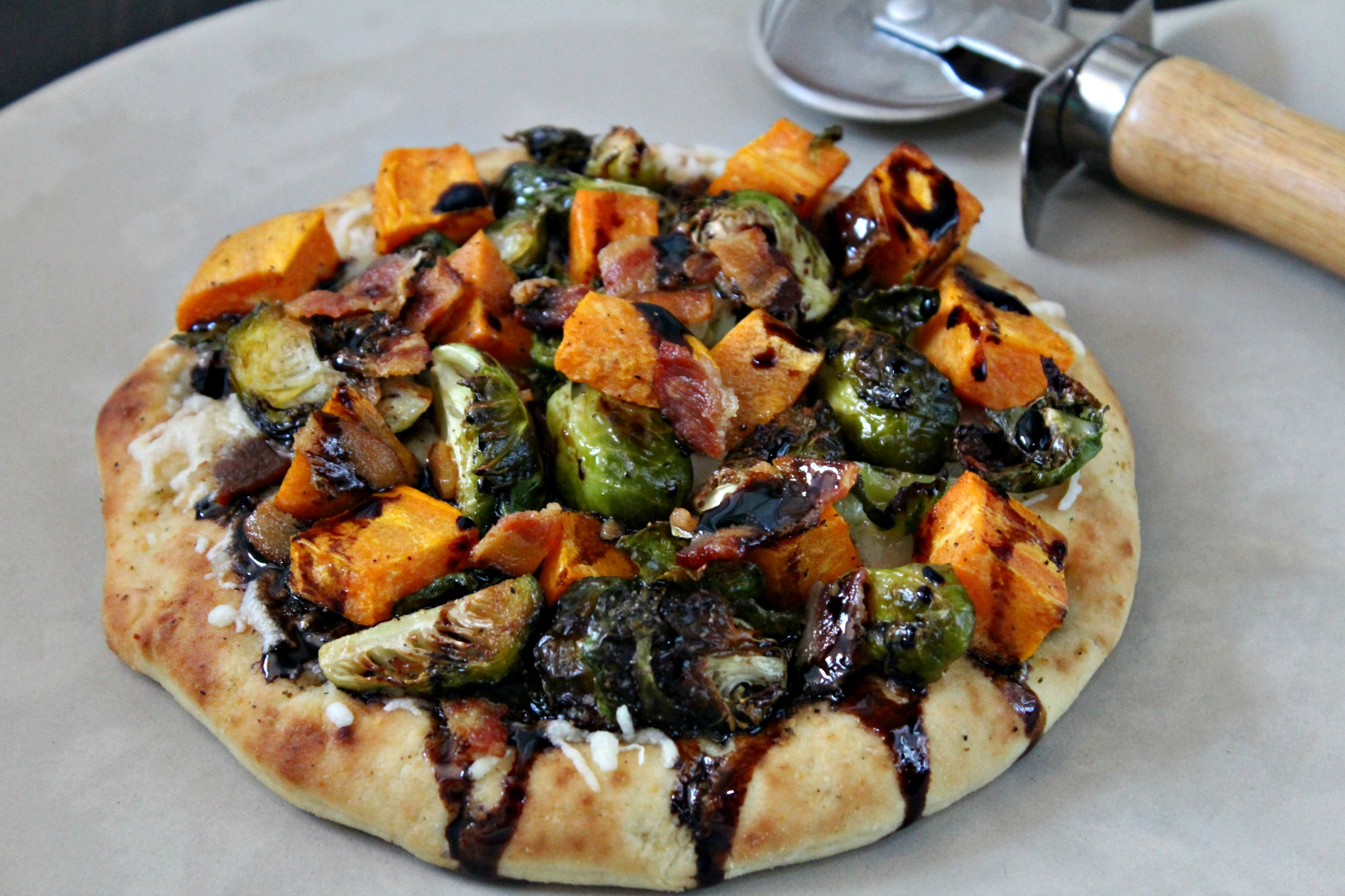 Sweet Potato Brussel Sprouts Bacon Pizza