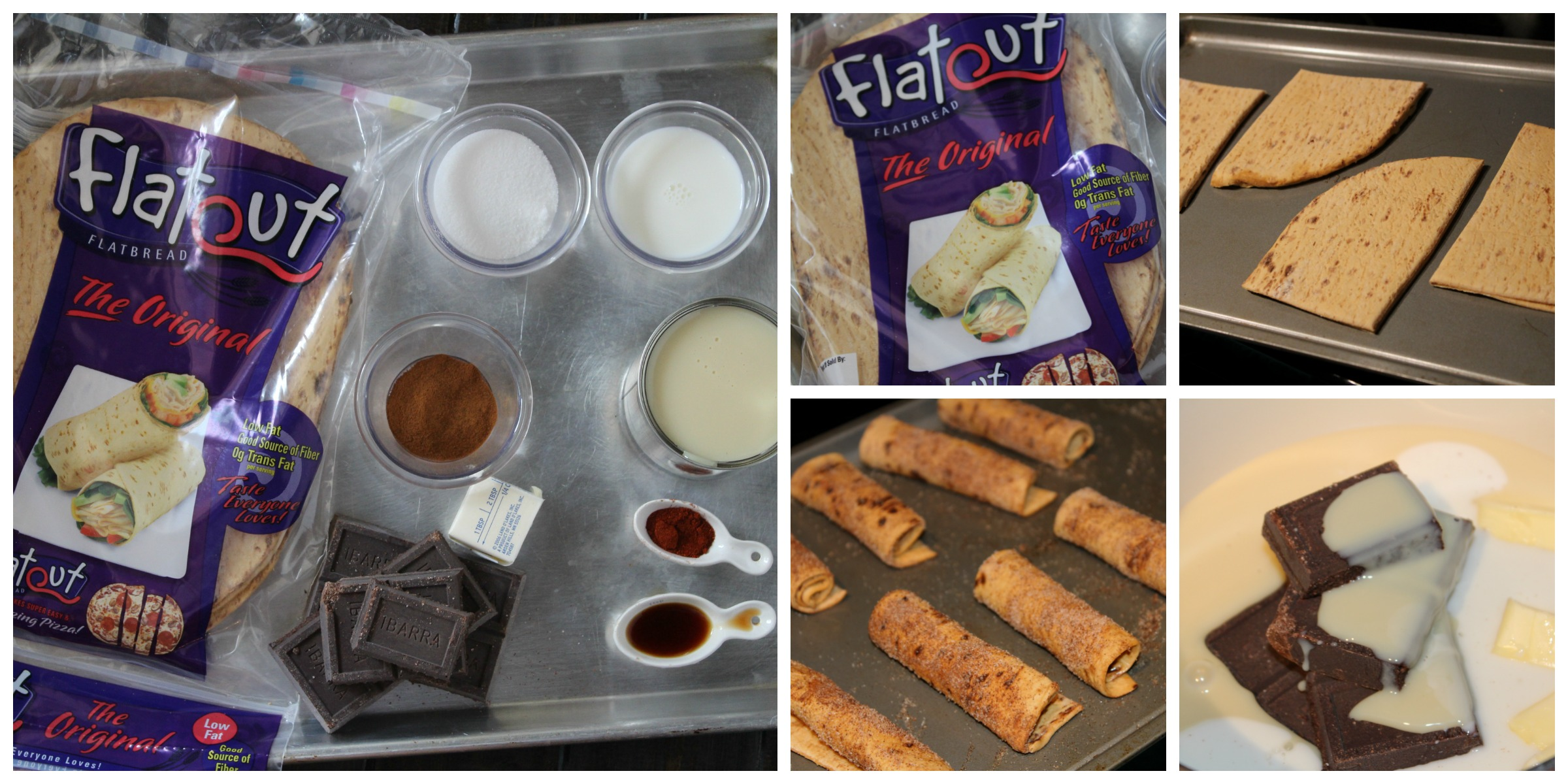 Cinnamon Taquitos with Mexican Chocolate Fondue Collage