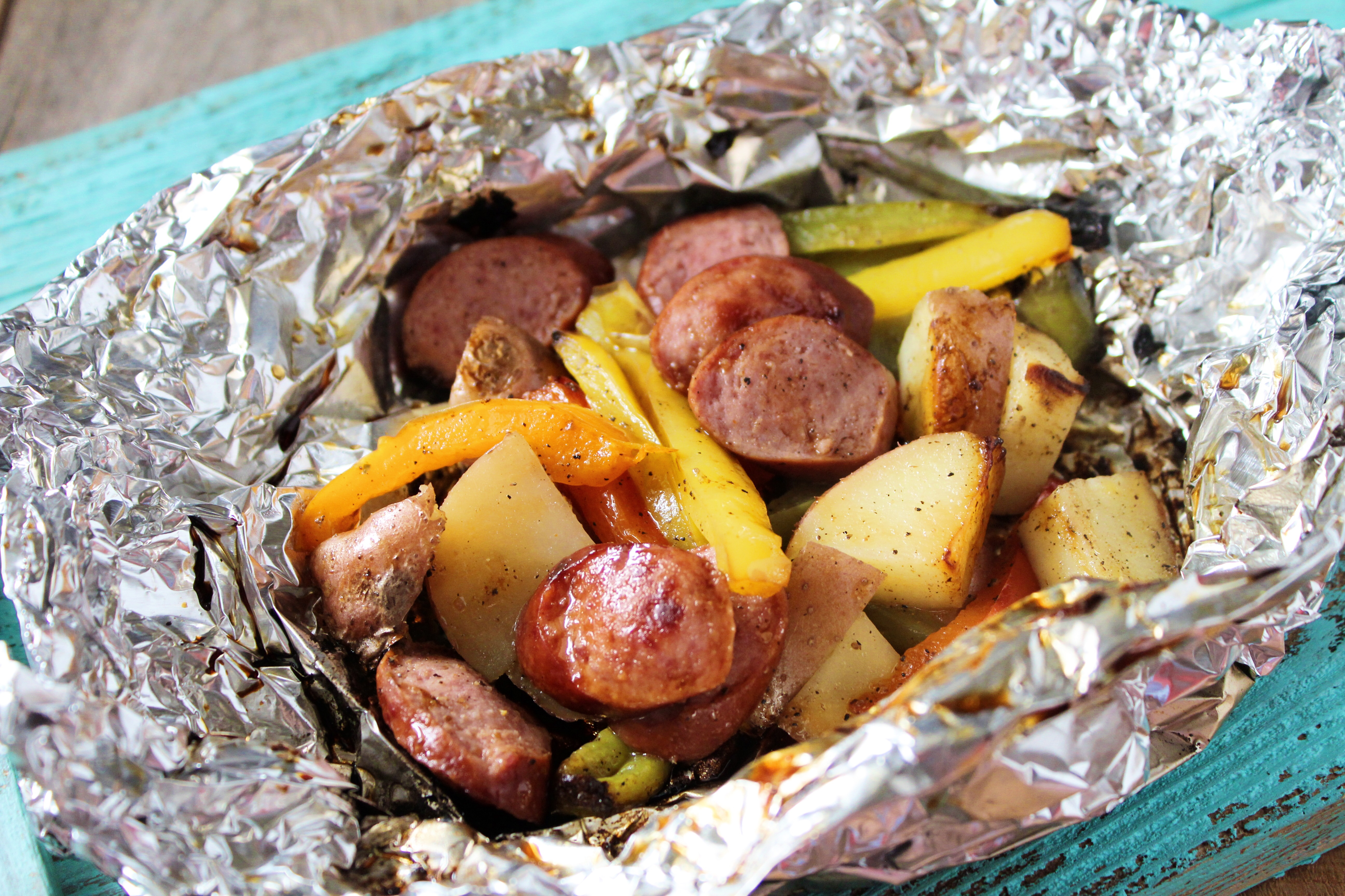 Grilled Sausage and Peppers in Tin Foil