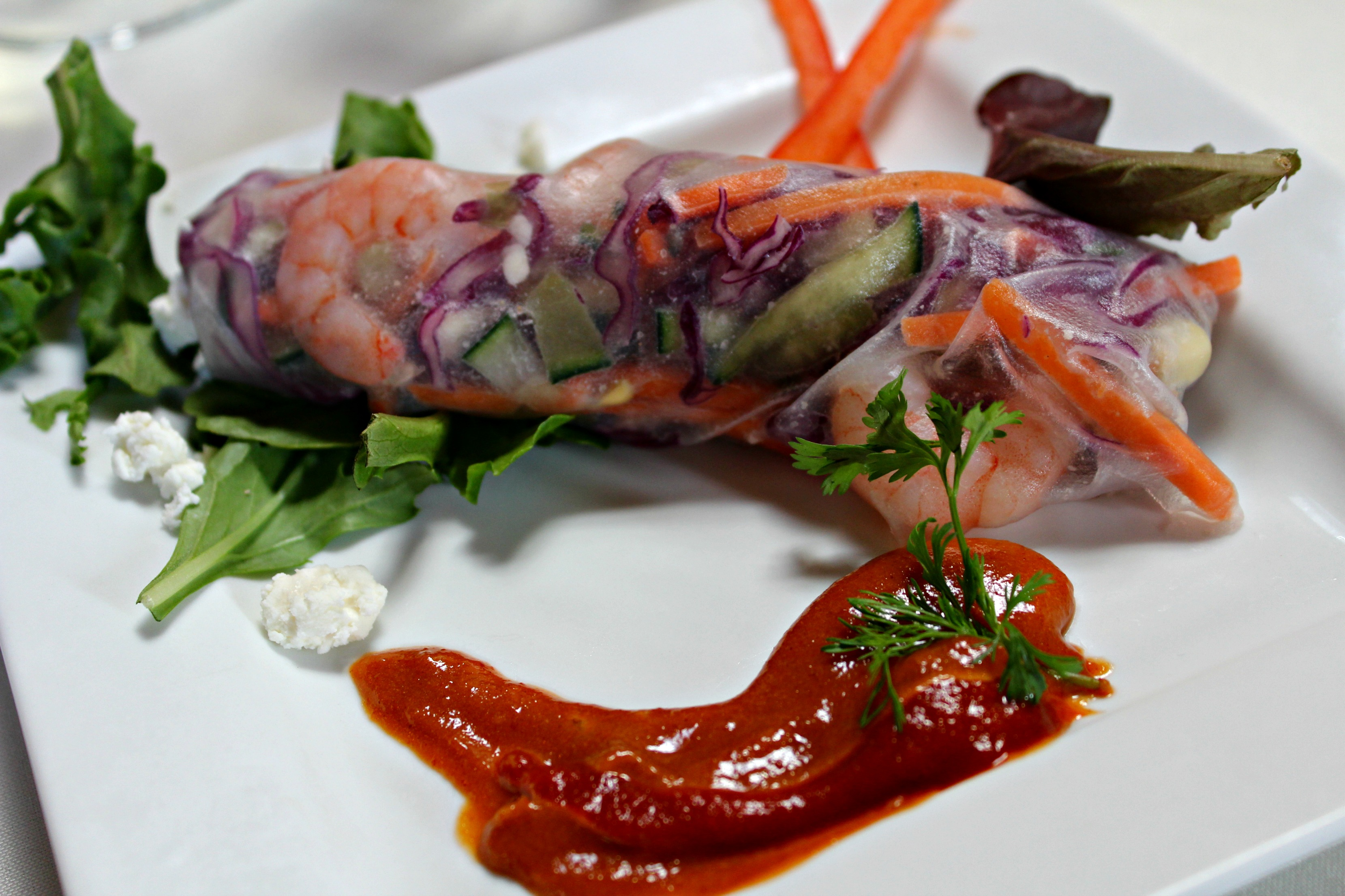 Tx Peanuts Tour House Rolled Spring Roll with Peanut Butter Siracha