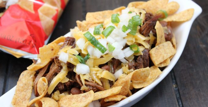 Brisket and Beans Frito Pie