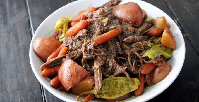 Slow Cooker Mississippi Pot Roast and Veggies