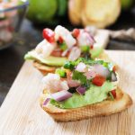 Shrimp and Tilapia Ceviche Bruschetta