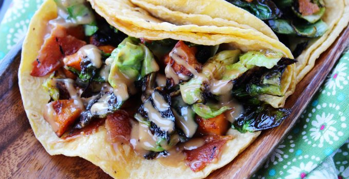 Brussels Sprouts Tacos with a Peanut Sauce