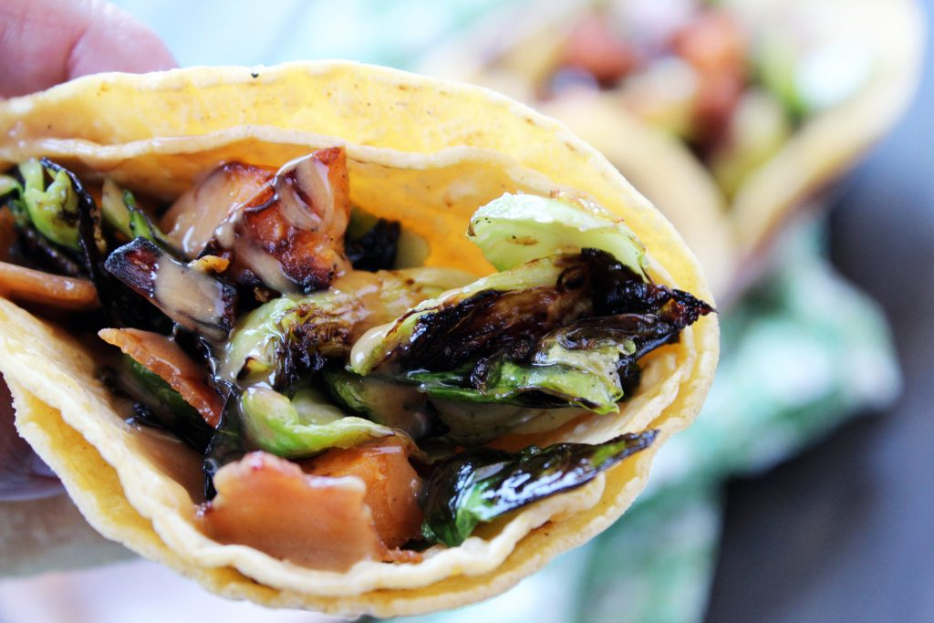 Brussels Sprouts Tacos with Peanut Sauce