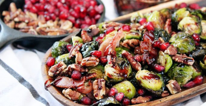 Pomegranate Molasses Brussel Sprouts with Bacon