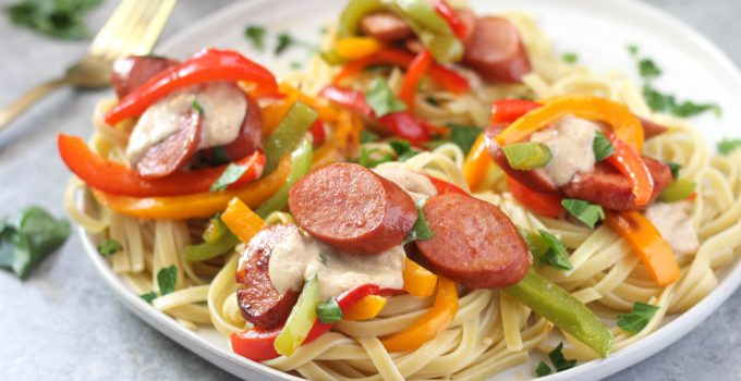 Lightened Up Fettucine Alfredo with Smoked Turkey and Bell Peppers